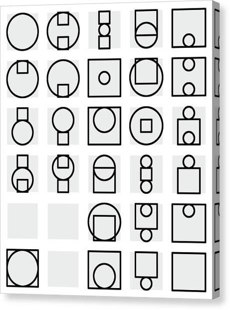 Circle And Square Alphabet - 24 Canvas Print