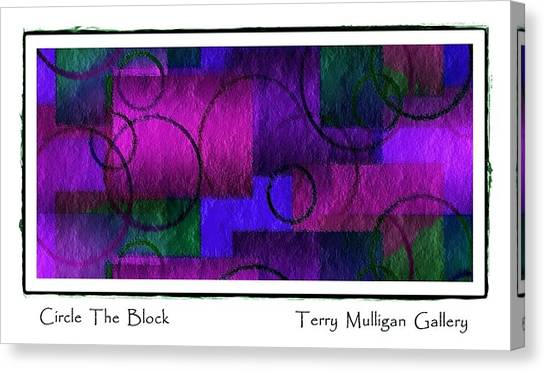 Circle The Block In Purple And Blue Canvas Print by Terry Mulligan
