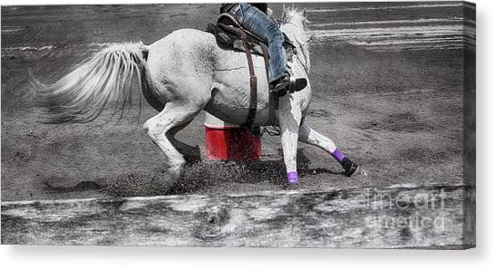 Barrel Racing Canvas Print - Circling The Barrel  by Steven Digman