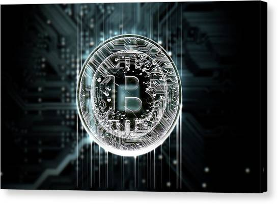 Currency Canvas Print - Circuit Board Projecting Bitcoin by Allan Swart
