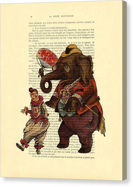 Clown Art Canvas Print - Clown With Circus Elephant Vintage Illustration by Madame Memento