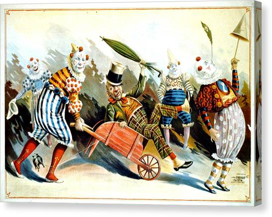 Circus Clowns - Vintage Circus Advertising Poster Canvas Print