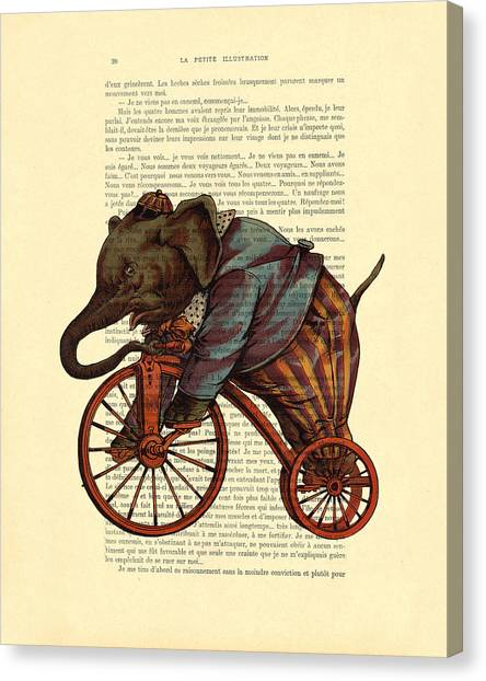 Clown Art Canvas Print - Circus Elephant On Bicycle by Madame Memento