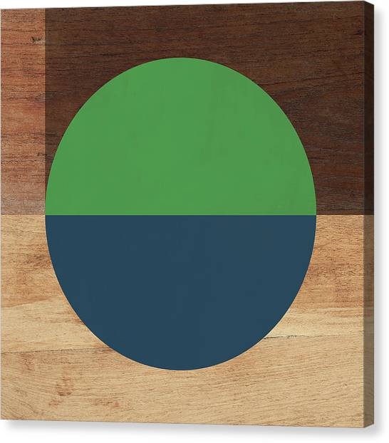 Retro Canvas Print - Cirkel Blue And Green- Art By Linda Woods by Linda Woods