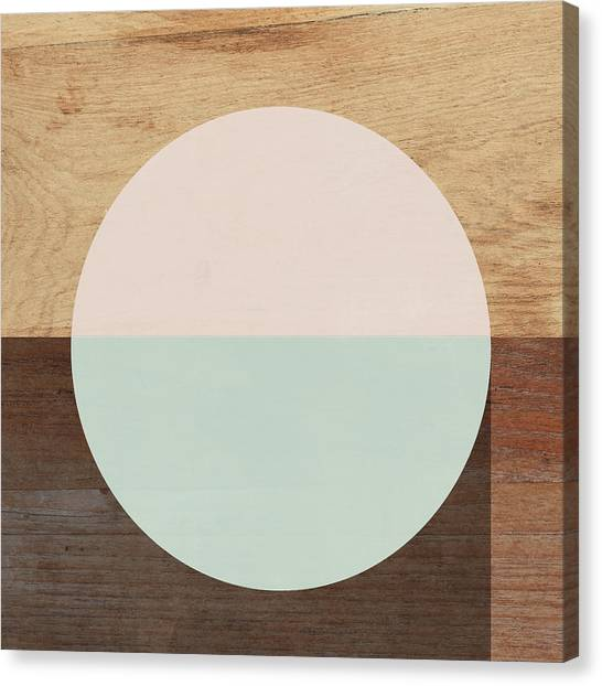 Circle Canvas Print - Cirkel In Peach And Mint- Art By Linda Woods by Linda Woods