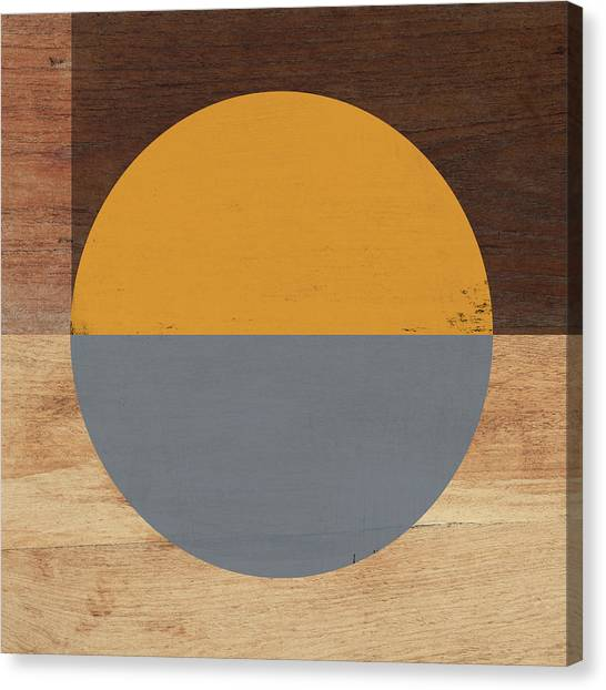 Retro Canvas Print - Cirkel Yellow And Grey- Art By Linda Woods by Linda Woods