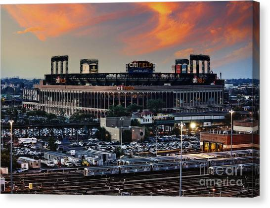 New York Mets Canvas Print - Citi Field Sunset by Nishanth Gopinathan