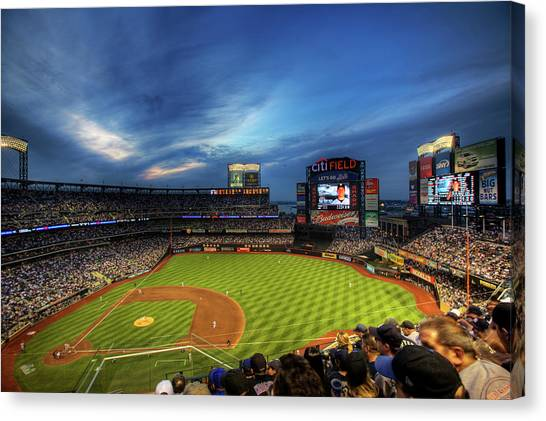 New York Mets Canvas Print - Citi Field Twilight by Shawn Everhart