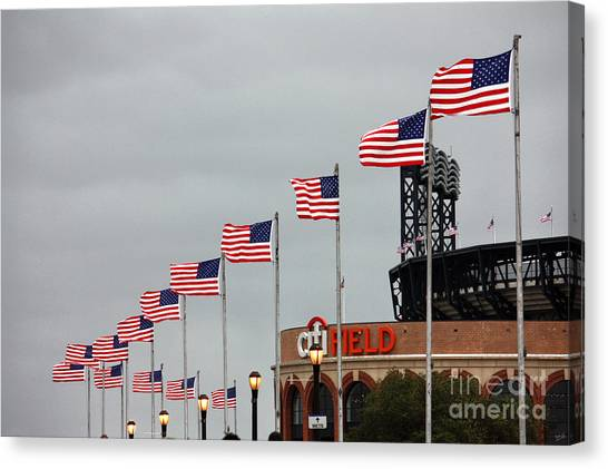 Citi Field Canvas Print - Citifield And American Flags by Nishanth Gopinathan