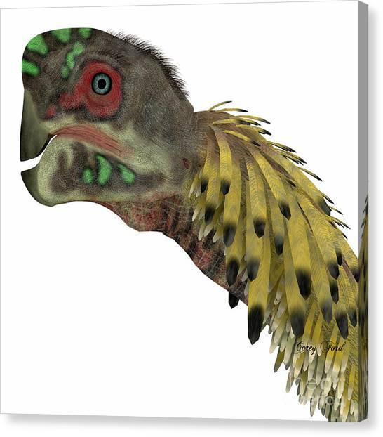Velociraptor Canvas Print - Citipati Dinosaur Head by Corey Ford