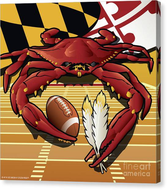 Citizen Crab Redskin, Maryland Crab Celebrating Washington Redskins Football Canvas Print