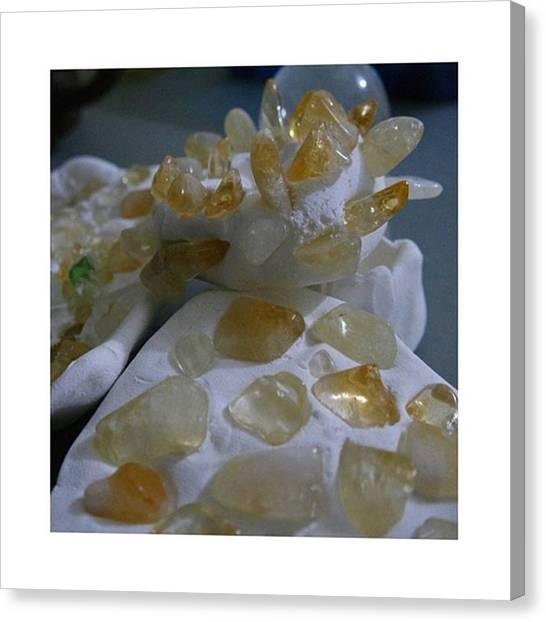 Gemstones Canvas Print - #citrine On Clay. --- #crystal by Eleazhar Purba