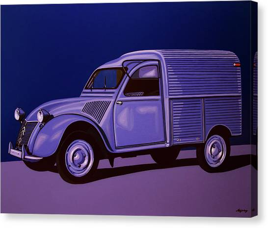 Realism Art Canvas Print - Citroen 2cv Azu 1957 Painting by Paul Meijering