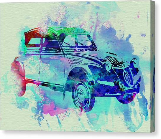 Classic Car Canvas Print - Citroen 2cv by Naxart Studio