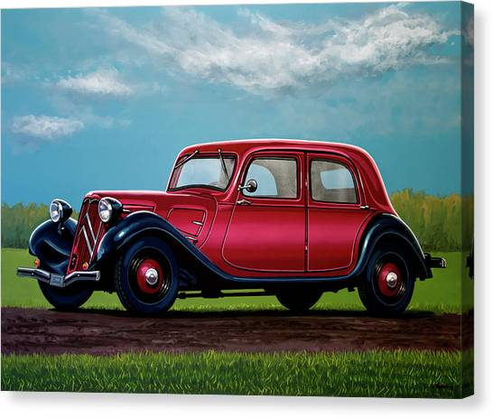 Realism Art Canvas Print - Citroen Traction Avant 1934 Painting by Paul Meijering