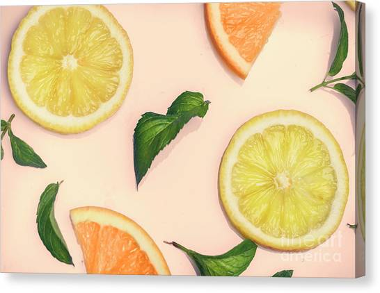 Smoothie Canvas Print - Citrus Pattern On Retro Pink Background by Jelena Jovanovic