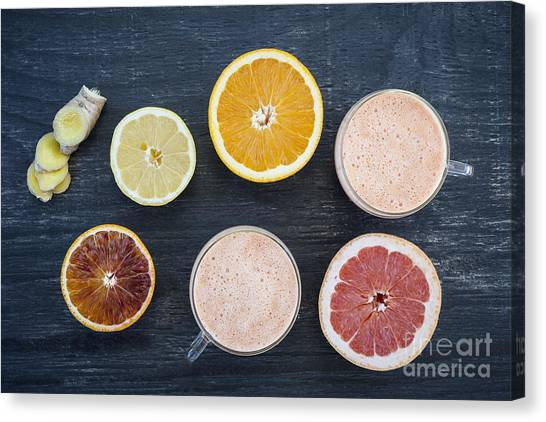 Lemons Canvas Print - Citrus Smoothies by Elena Elisseeva