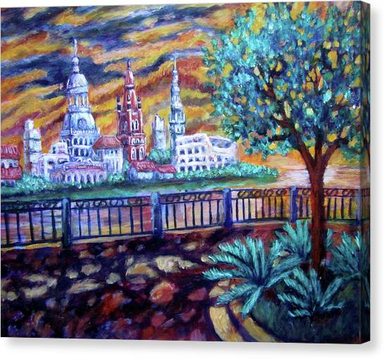 City Across The River Canvas Print