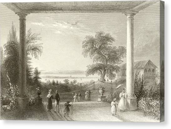 Garden Scene Canvas Print - City And Lake Of Constance From The Chateau Wolfsberg by William Henry Bartlett
