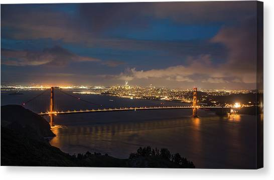 Canvas Print featuring the photograph City And The Bridge by Stephen Holst