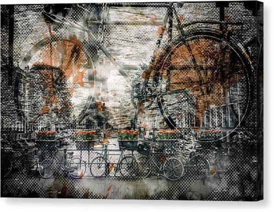 Compose Canvas Print - City-art Amsterdam Bicycles  by Melanie Viola