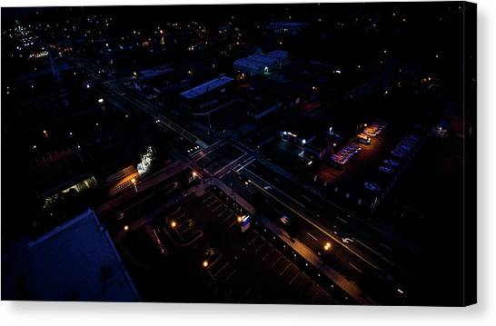 City At Night From Above Canvas Print
