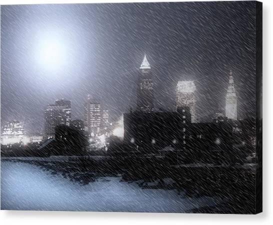 City Bathed In Winter Canvas Print by Kenneth Krolikowski