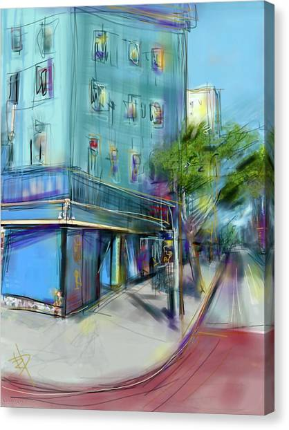 City Blue Canvas Print by Russell Pierce