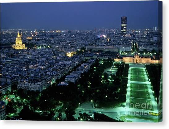 Les Invalides Canvas Print - City Buildings As Seen From The Eiffel Tower At Night by Sami Sarkis