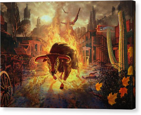Canvas Print featuring the digital art City Bull City by Uwe Jarling