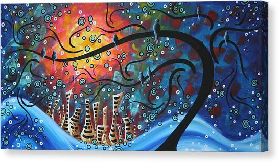 Abstract Designs Canvas Print - City By The Sea By Madart by Megan Duncanson