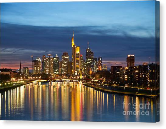 Singapore Skyline Canvas Print - City Lights In Singapore by Thomas Jones
