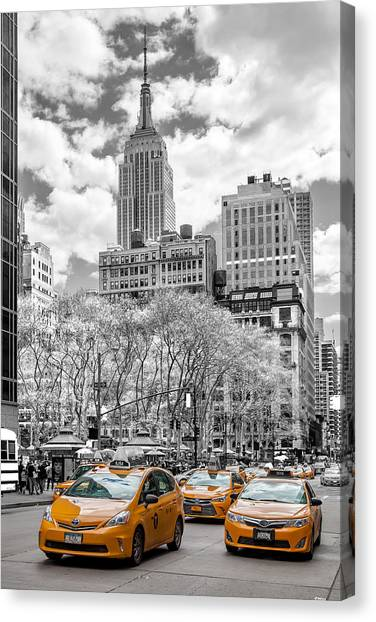 New York Skyline Canvas Print - City Of Cabs by Az Jackson