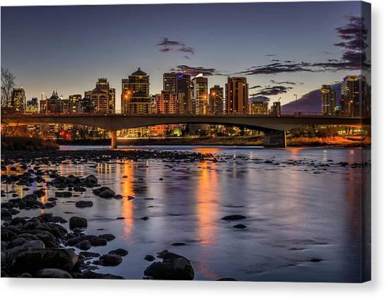 Calgary Flames Canvas Print - City Of Calgary Alberta by Yves Gagnon