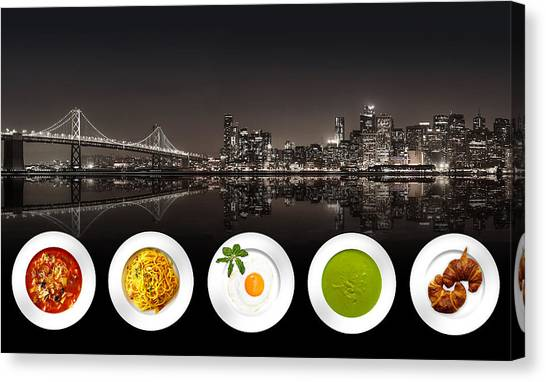 Canvas Print featuring the digital art City Of Cultural Cuisines by ISAW Company