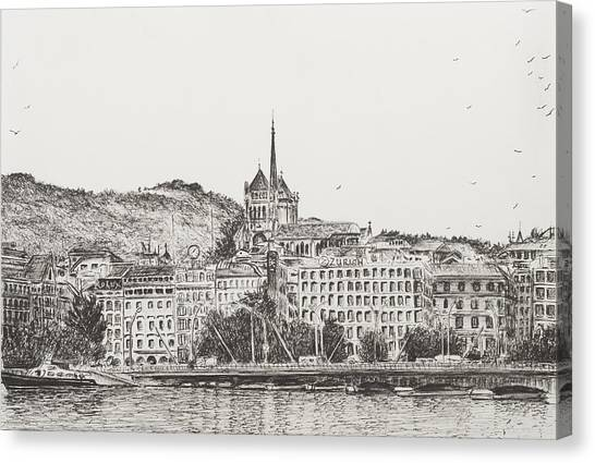 Lake Geneva Canvas Print - City Of Geneva by Vincent Alexander Booth