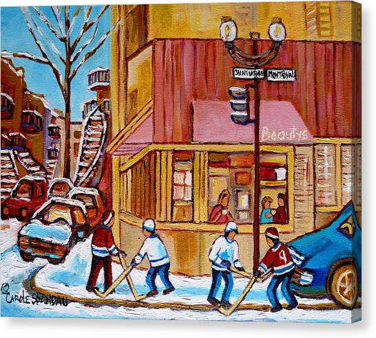 Afterschool Hockey Montreal Canvas Print - City Of Montreal St. Urbain And Mont Royal Beautys With Hockey by Carole Spandau