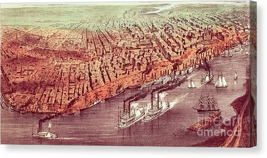 St Ives Canvas Print - City Of New Orleans by Currier and Ives