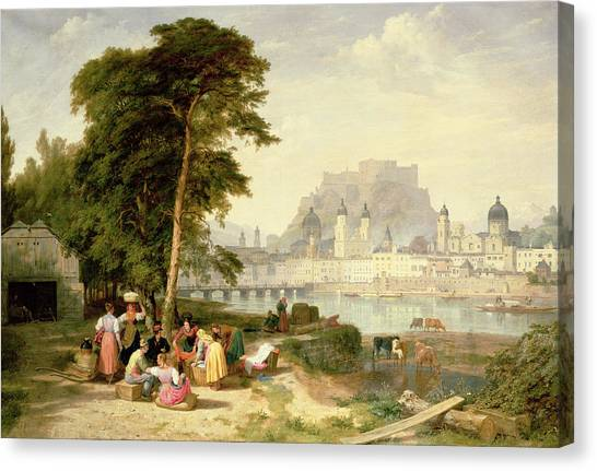 City Landscape Canvas Print - City Of Salzburg by Philip Hutchins Rogers