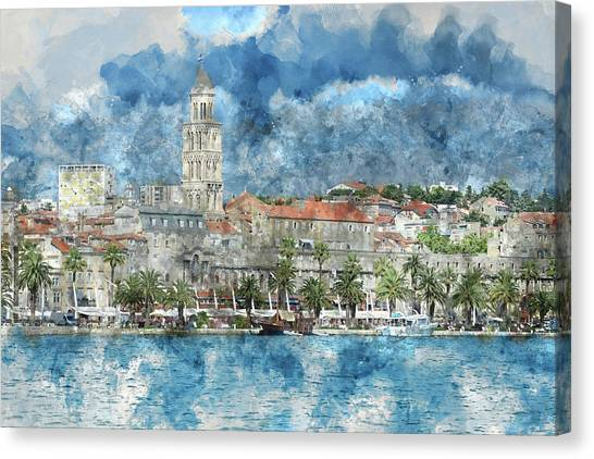 City Of Split In Croatia With Birds Flying In The Sky Canvas Print