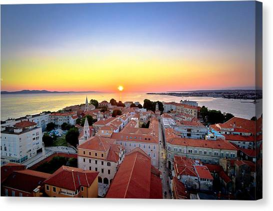 City Of Zadar Skyline Sunset View Canvas Print
