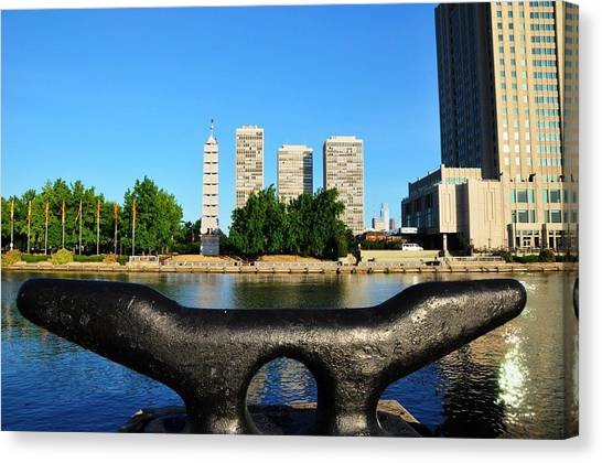 City On A Bollard Canvas Print by Andrew Dinh