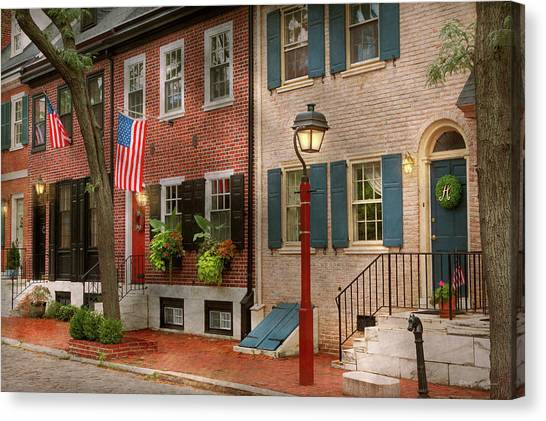 Philidelphia Canvas Print - City - Pa Philadelphia - American Townhouse by Mike Savad