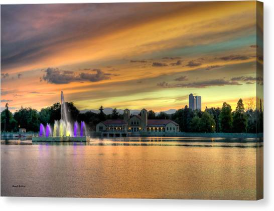 City Park Fountain At Sunset Canvas Print
