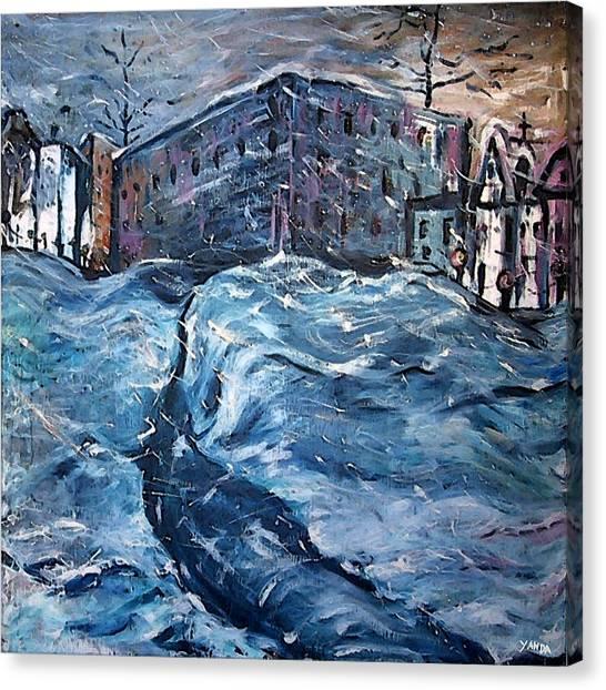 City Snow Storm Canvas Print
