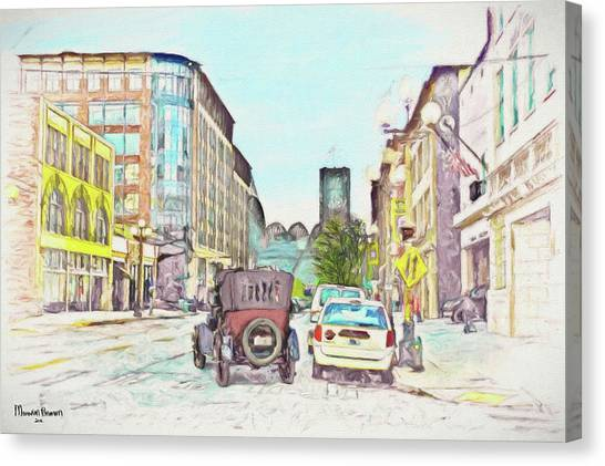 City Street Canvas Print by Marvin C Brown