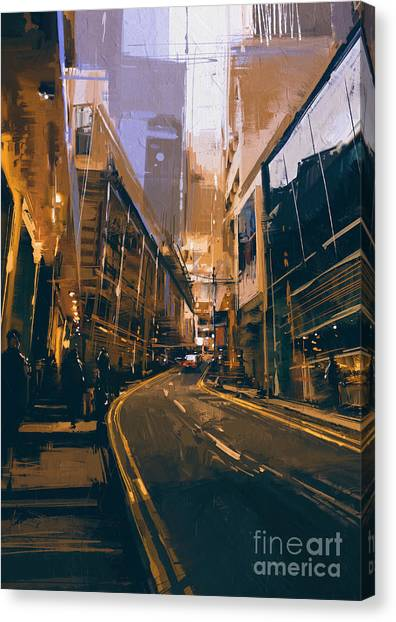 Canvas Print featuring the painting City Street by Tithi Luadthong