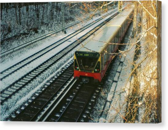 City Train In Berlin Under The Snow Canvas Print