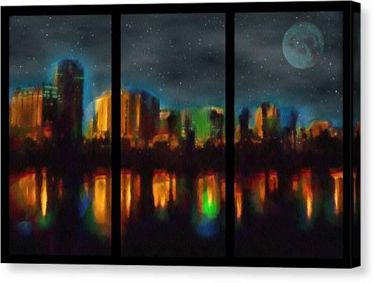 City Under A Blue Moon Canvas Print