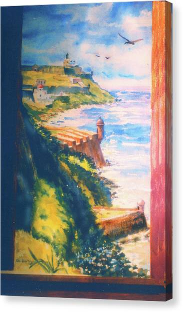 City Wall And Sentry Boxes  San Juan Puerto Rico Canvas Print by Estela Robles
